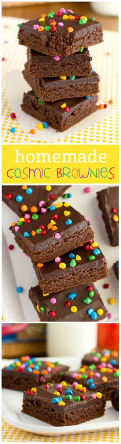 Rich, fudgy and covered with bright little sprinkles, these homemade cosmic brownies taste just like those coveted lunchbox treats, only better! Just Desserts, Delicious Desserts, Dessert Recipes, Yummy Food, Tasty, Japan Design, Yummy Treats, Sweet Treats, Cosmic Brownies