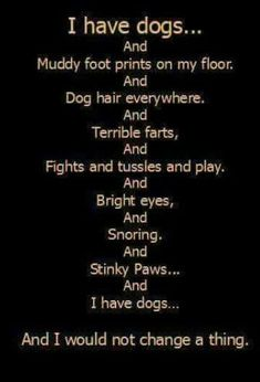 Dog quote! I have dog too and wouldn't change a thing!