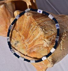 7 Stertch Navy and White Bracelet by SilverSunStudio on Etsy