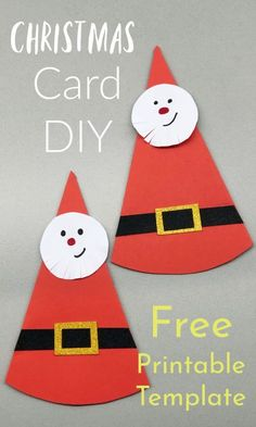 Easy DIY Santa Christmas Greeting Card with Free Printable Template Easy Christmas Crafts, Christmas Activities, Santa Christmas, Christmas Greeting Cards, Christmas Greetings, Simple Christmas, Christmas Themes, Creative Arts And Crafts, Easy Crafts For Kids