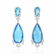NEW: Dangle earrings featuring four blue topaz stones 48.30ctw and 168 round…
