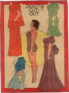 Stylish 1930s paper doll fashion. #1930s #vintage #paper #doll #paperdoll #fashion #clothing