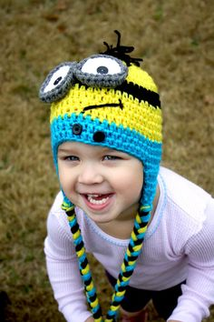 Crochet minion hat. Despicable me hat. Made to order minion hat.