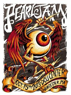 2013 PEARL JAM WORCESTER, MA 10/15 POSTER