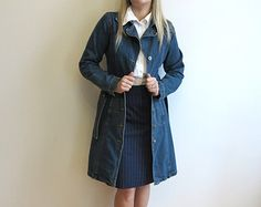 Blue Denim Dress Button up Long Sleeve Uniform Jean Coat Belted Long Jacket Small Size