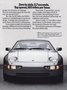 1989 ad for Porsche 928 Porsche Sports Car, Porsche Cars, Volkswagen, Ferdinand Porsche, Porsche 928 Gts, Car Experience, Auto Union, Mercedes Benz, Vintage Porsche