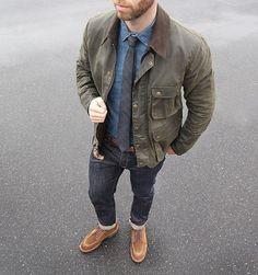 """Jacket: Rover in Dark Olive Waxed Cotton Denim: Slim Como Boots: Alden Snuff Suede Indy Belt:…"""" Dapper Gentleman, Gentleman Style, Alden Boots, Stylish Men, Men Casual, Best Mens Fashion, Men's Fashion, Fasion, Fashion News"""