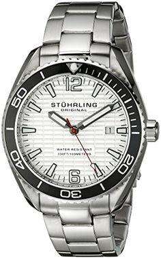 Stuhrling Original Mens 51501 Aquadiver Regatta Endeavor Swiss Quartz Date Stainless Steel Bracelet Watch ** See this great product.