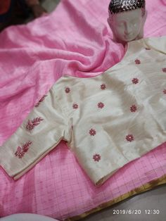 Buy light pink color chiffon saree with designer blouse online with price at siri designers Cutwork Blouse Designs, Wedding Saree Blouse Designs, Simple Blouse Designs, Saree Blouse Neck Designs, Stylish Blouse Design, Chiffon Saree, Designer Blouses Online, Buy Sarees Online, Blouse Online