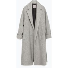 Zara Wool Coat ($100) ❤ liked on Polyvore featuring outerwear, coats, jackets, coats & jackets, grey, zara coat, grey coat, gray coat, woolen coat and wool coat