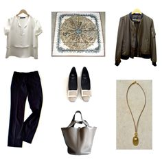 Aux Pays de Epices Hermes scarf with Zara wardrobe pieces and a MaiTai Collection pendant necklace
