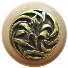 Notting Hill Floral Mushroom Knob Finish: Antique Brass / Natural Wood