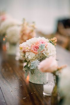 love the patterned wrap on these centerpiece vases   Tim Will #wedding