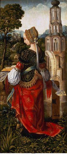 Sainte Barbara, 1510-20 le Maître de Francfort. Ceci est l'aile droite d'un retable réalisé par un peintre anversois 16ème siècle connu seulement comme le Maître de Francfort . St Barbara se tourne vers le panneau central manquant, qui contient une représentation de la Sainte Famille avec les anges de création musicale (maintenant à la Walker Art Gallery de Liverpool