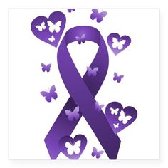 Purple Awareness Ribbon Sticker on CafePress.com
