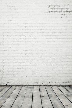 White Gray Brick Wall Wood Floor Photography Studio Backdrop | Etsy