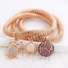 Owl Round Leopard Print Women's Bracelet
