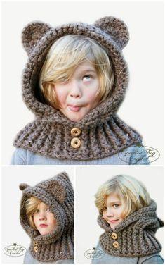 Free Crochet Hooded Bear Cowl Pattern - 28 Free Crochet Hooded Cowl Patterns - DIY & Crafts