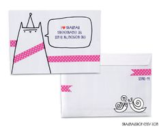 Smail mail art - cats and snails, using washi tape. Hand Lettering Envelopes, Addressing Envelopes, Pen Pal Letters, Pocket Letters, Snail Mail Gifts, Book Wrap, Decorated Envelopes, Diy Envelope, Happy Mail