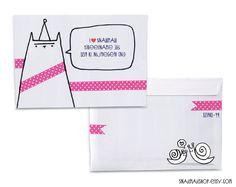 Handmade, drawing envelopes, great for cute snailmail. Create your own set (3, 5, 10 or 15 envelopes) http://www.etsy.com/shop/snailmailshop