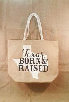 "Burlap ""Texas Born & Raised"" Tote 17"" Deep x 21.5"" W"