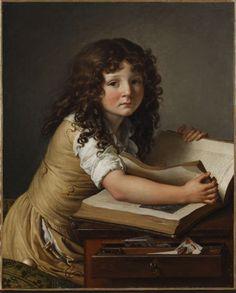 Anne-Louis Girodet-Trioson. Benoît Agnès Trioson regardant des figures dans un livre (1797). Musee Girodet, Montargis, Frankrijk.