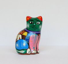 Mexican Pottery Cat Vintage Hand Painted Colorful Ceramic Kitty