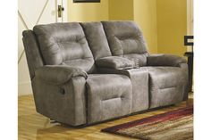 Smoke Rotation Reclining Loveseat with Console View 1