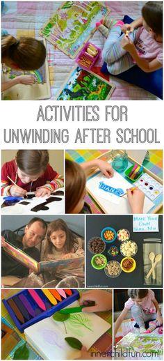 Activities to help kids unwind after school - love these!! …