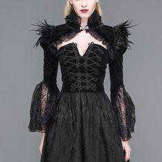 Victorian-Ruffle-Black-Satin-Long-Flare-Sleeve-Gothic-Jacket-Bolero-Short-Coat