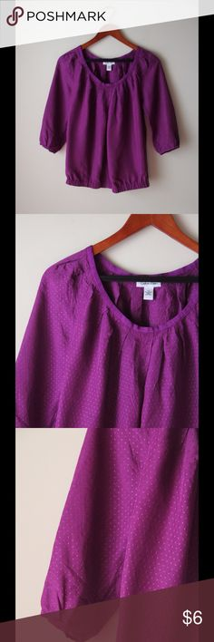 """Calvin Klein purple top Purple mini dot top - three quarter sleeves with button cuffs - elastic at hemline - acetate - chest across measures 17.5"""" - total length measures 24"""" - tag says XS but fits like S Calvin Klein Tops"""