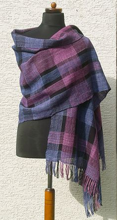 Spiro's tartan shawl -- woven on Glimakra Susanna rigid heddle loom