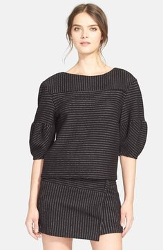 Free shipping and returns on Alice + Olivia Alice + Oliva 'Winston' Structured Top at Nordstrom.com. Artfully placed seams stagger the crisp stripes of a structured top detailed with a wide bateau neckline and chic three-quarter-length sleeves.