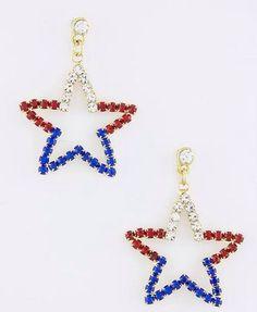 PATRIOTIC-4TH-OF-JULY-RED-WHITE-BLUE-STAR-RHINESTONE-DANGLE-EARRINGS