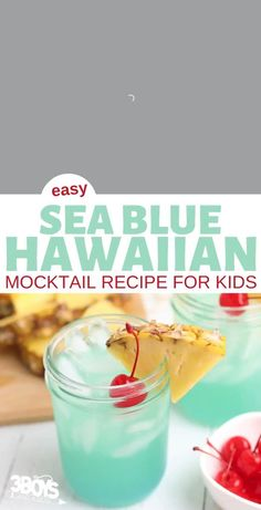This Hawaiian Blue Mocktail is delicious, alcohol free, and easy to make. All you need are a few simple ingredients and you'll be relaxing and sipping the day away. Luau Drinks, Hawaiian Drinks, Blue Hawaiian Punch, Hawaiian Luau Party, Kid Drinks, Fancy Drinks, Beverages, Easy Mocktails, Mocktails For Kids