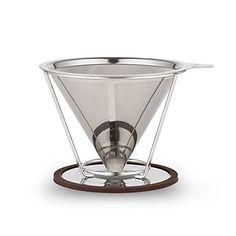 Edelstahl gie�en Kegel Dripper, wiederverwendbare Kaffeefilter mit Cup-Stand, 2-4 Tassen
