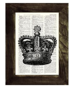 Black King Crown Print -Upcycled Dictionary page print- Unique gift upcycled BPTV064