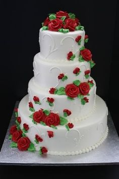 Wedding Cake: White buttercream frosting and designs with red buttercream roses and green leaves Wedding Cake Frosting, Wedding Cake Cookies, Wedding Cake Red, Cool Wedding Cakes, Beautiful Wedding Cakes, Wedding Cake Designs, Beautiful Cakes, Burgundy Wedding, White Buttercream Frosting