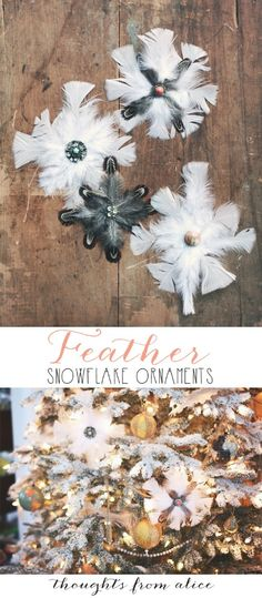 Ornaments, brooch, accent on a hat or headband. So many things to do with this feather design! ~ OP: Feather Snowflake Ornaments.  These are SO beautiful!
