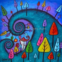 """The Fanciful Forest~acrylic~16"""" x 16""""~availablel"""