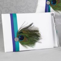 Peacock Plume Wedding Guest Book with Pen
