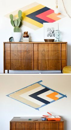 DIY Retro Diamond Focal Wall | Click Pic for 36 DIY Wall Art Ideas for Living…
