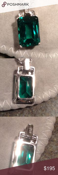 Nano Russian Emerald Pendant 8.00CT of gorgeous Lab Russian created Emerald Pendant, Beautiful Emerald cut stone set in 925 Sterling silver Jewelry Necklaces
