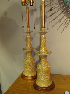 """The Classic Marboros"": pair of elegant yellow flower porcelain, circa 1968. Marboro Lamp Co."