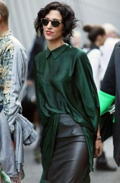How To Wear Silk Blouse And Leather Skirt 2017 Street Style