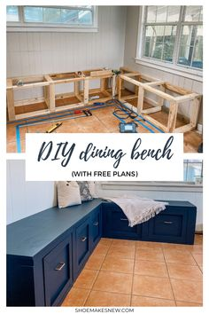 Dining Bench With Storage, Bench With Drawers, Dining Room Storage, Diy Storage Bench, Dining Room Bench, Kitchen Benches, Dining Nook, Bedroom Bench With Storage, Built In Bench