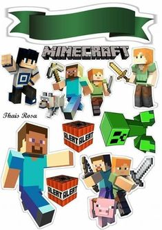 Topo de Bolo de Papel do Minecraft: Quem está organizando uma festa do Minecra. Minecraft Crafts, Minecraft Party Decorations, Minecraft Pixel Art, Lego Minecraft, Minecraft Skins, Minecraft Buildings, Minecraft Clipart, Minecraft Printable, Minecraft Funny