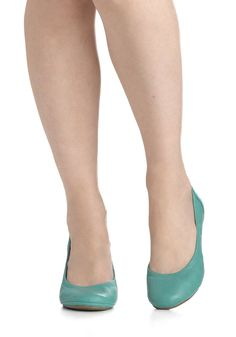 Flexible Schedule Flat in Mint - Mint, Solid, Flat, Leather, Casual, Pastel