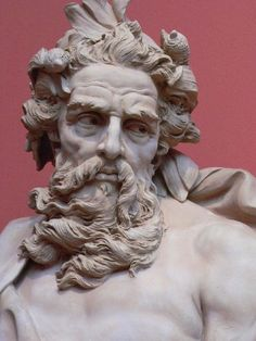 Bust of Neptune  by Lambert-Sigisbert Adam, 1725, Los Angeles County Museum of Art, Los Angeles, California.   (detail)