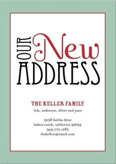 New Address/Home/Moving  Announcement Cards
